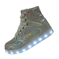 7 Changing Colors Laser Silver Light Up Shoes For Kids Girls Boys Led Sneakers High Top