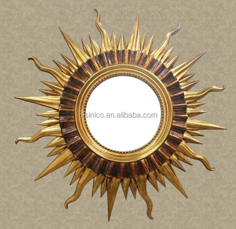 Luxury Fairy Tale Sun Shaped Wall Mirror Home Decorative God Hanging