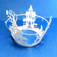 New Laser Cut Pierced warm house design cupcake wrappers birthday wedding party supplies favors cake decoration