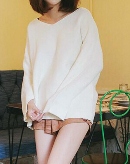 EY0565S 2015 Autumn Casual Pullover Women New Fashionable White V Neck Long Sleeve Loose Female Oversized Knitted Sweater