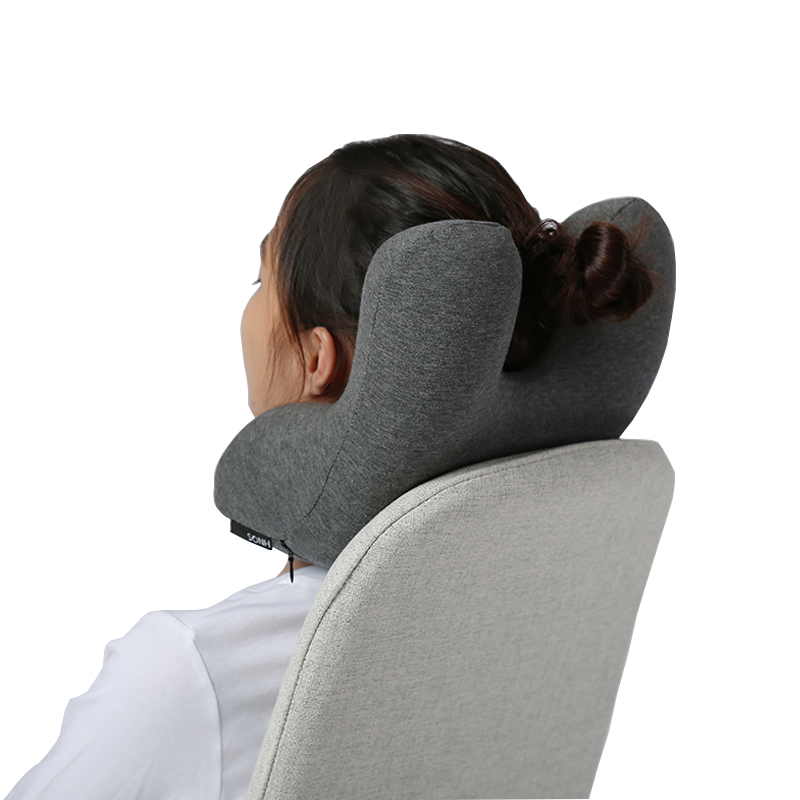 Travel Pillow Chin Neck Support Memory Foam Airplane Travel Neck Pillow For Car, Gray
