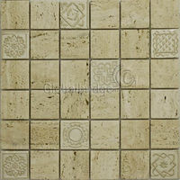 Carving Sd-W03 White Travertine carving marble mosaic tiles for wall decoration