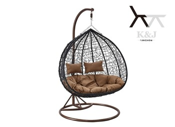 Double Seat Couple Round Bird Nest Rattan Hammock Swing Chair F 03 A2
