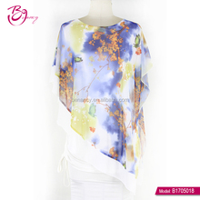 2017 GuangZhou supplier korea design butterfly printing free size blouse for woman over 30