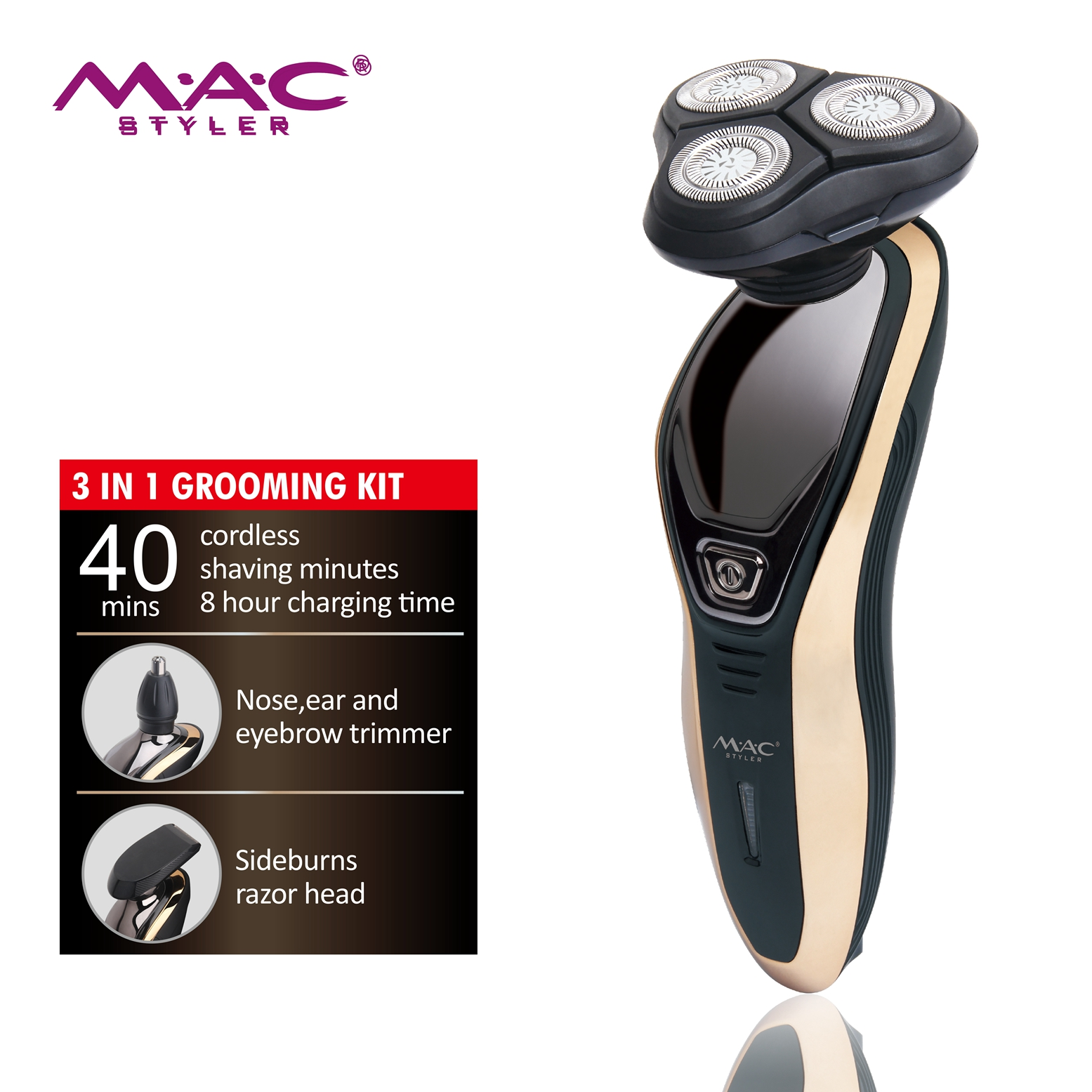 Cordless 3In 1 Portable Electric Men Foil Shaver For Men's Facial Brush Home Nose/Ear/Eyebrow Razor Shaver