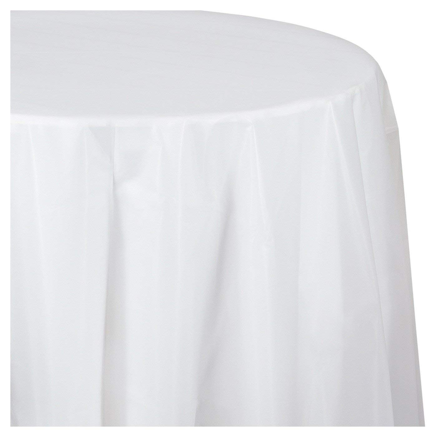 "Mountclear 12-Pack Disposable Plastic Tablecloths - 84"" Inch Round Table Cloth – Ideal Round Table Covers for Any Tables Upto 6 Feet Long – Easy Clean-up of Post-Event Mess (12, White)"