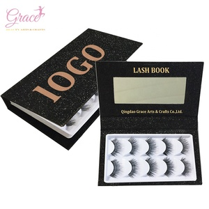 Private Label Luxury Glitter Paper Lashes Book Mirror Custom Eyelash Packaging Boxes with 5 Pairs Human Hair Eyelashes Set