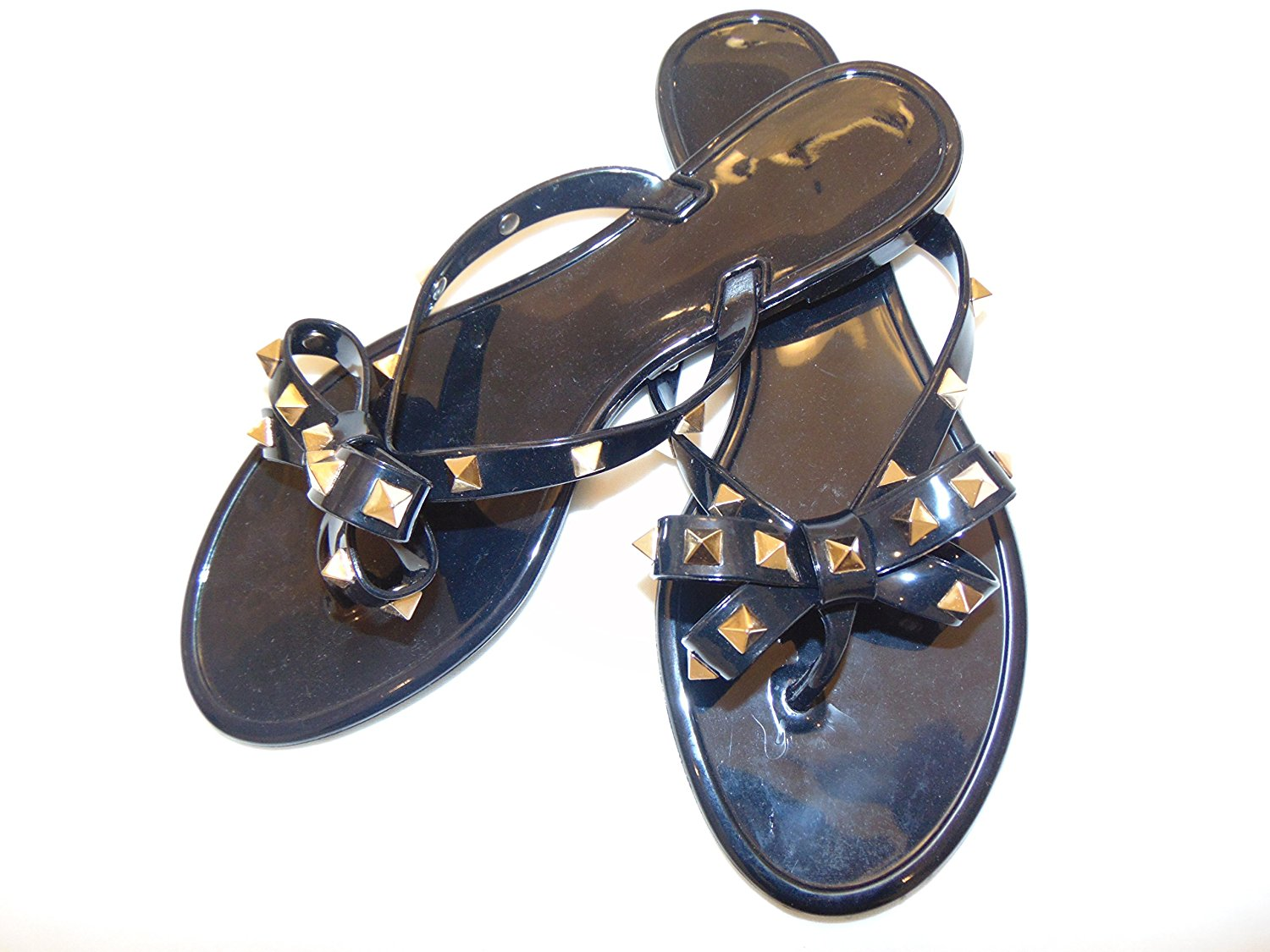 e4b98d49dd11af Get Quotations · Rivets Big Bow Knot Flat Jelly Flip Flop Sandals.