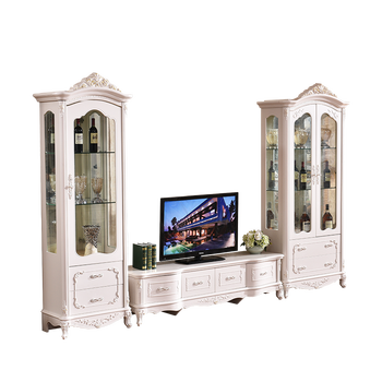 White Luxury One Two Door Wooden Display Cabinet Designs For Living Room