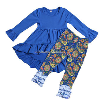 Sue Lucky hot selling blue frock design tops matching icing pants girl clothes