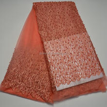 AG3402#7tulle beaded lace fabric/wholesale african lace fabrics tulle orange