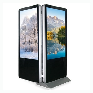 55 inch Floor Stand Dual Screen Kiosk Shopping Mall Display Kiosk, Double Sided LCD Advertising Kiosk, Touch Screen Ad Player