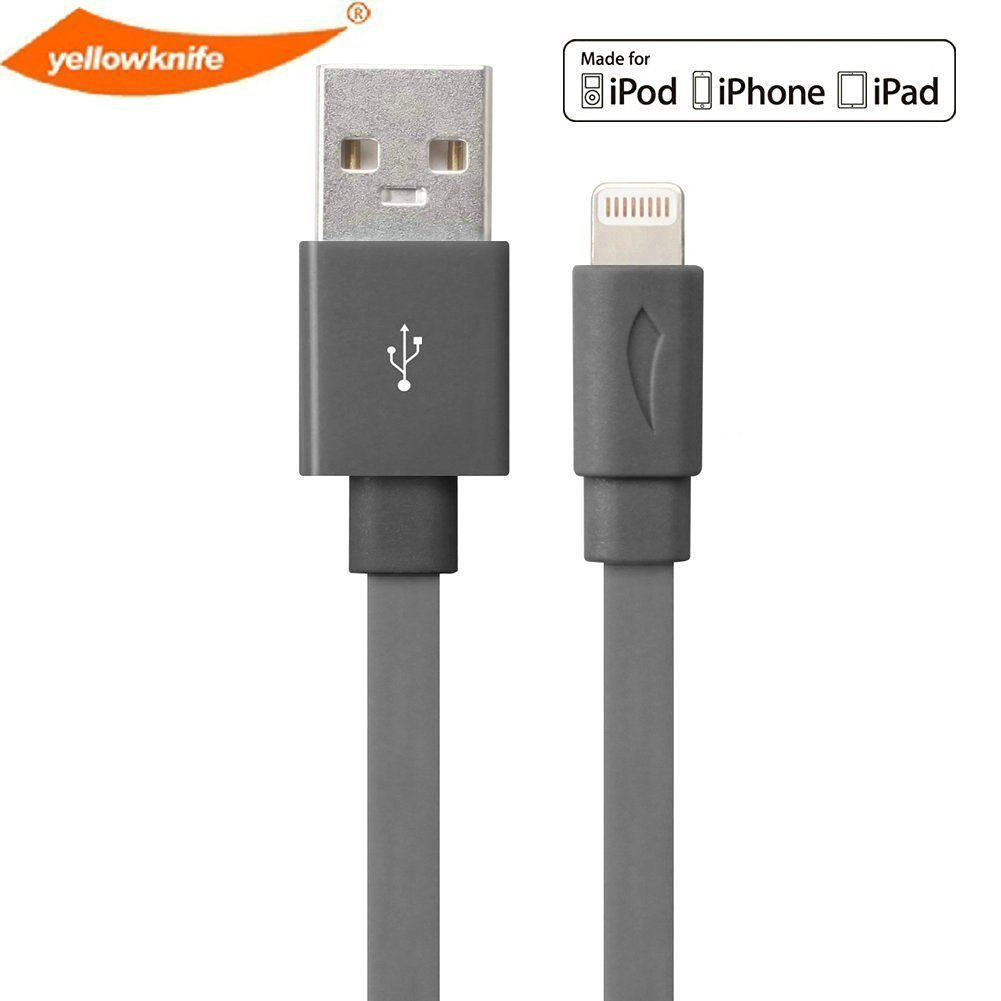 [Apple MFI Certified] Yellowknife Lightning to USB Sync Charger Data Cable Cord Data 3.3ft / 1m for iPhone 6, 6 plus, 5 5S 5C, iPad (Air/4th generation), iPad mini, iPod (7th generation), iPod touch (5th generation) & iPod nano (7th generation) (Gray)