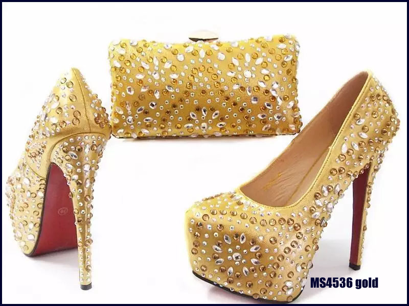 MS4536 New fancy design gold ladies party wedding high heels shoes and matching bag set with stones