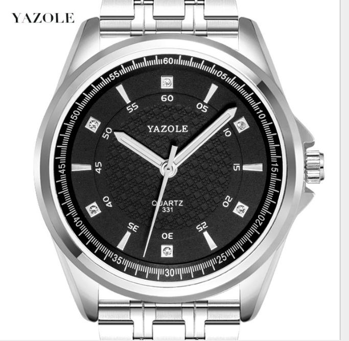 YAZOLE Z 331-S 359-S Fashion wrist watch unique design stainless steel back quartz watch price luminous pointer watch for men, Black or white dial