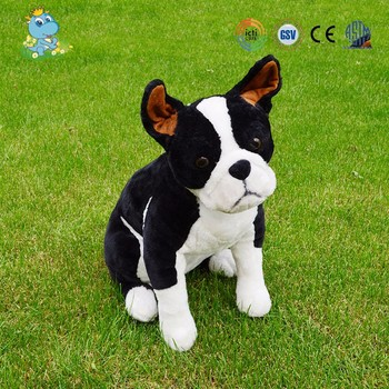 Custom wholesale kids lifelike black bulldog plush toys