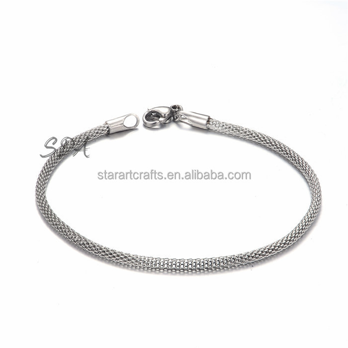 Twisted Women Men Mesh Net Chain Bracelet 22CM 316L Stainless Steel Wholesale Gift Charm Bracelet