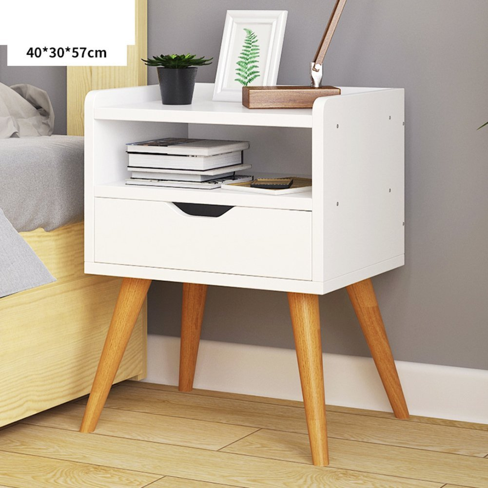 FJIWDTGYHFGT Simple Modern Bedside Table White Drawer Tall nightstand,European Assembly Solid Wood Bedside Cabinet with Drawer-B