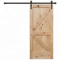 Prettywood Modern Interior Solid Wooden Sliding Barn Door With Steel Hardware Set