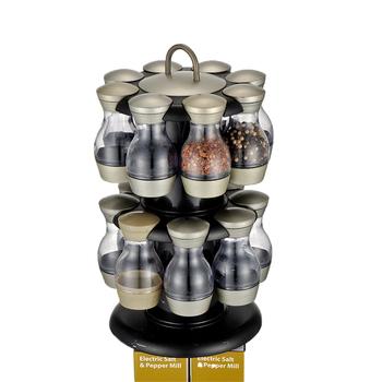 16 Jar Revolving Stainless Steel Glass Kitchen Storage Spice Jars