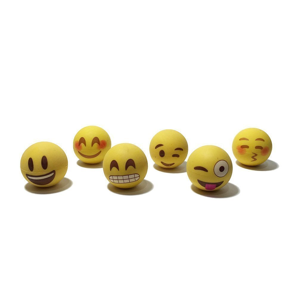 I EM JI Pencil Top Erasers - Emoji Erasers for Kids - Fun Pencil Top Eraser - Everything Emoji Cute Pencil Eraser Tops (Set 3 (6 pack))
