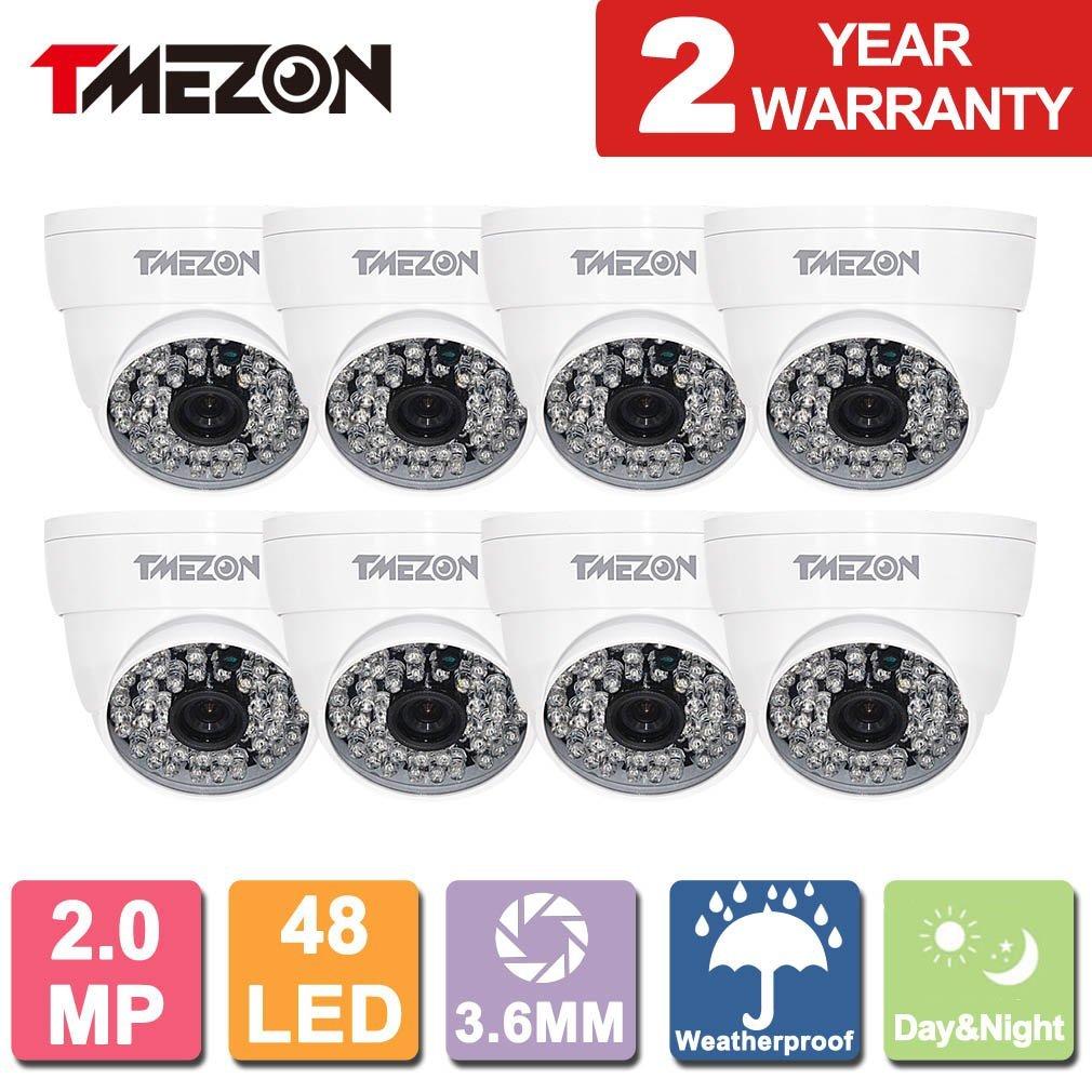 TMEZON 8 Pack AHD Camera 1080P AHD/CVI/TVI/960H 1500Tvl Security Camera 2.0MP Night Vision Outdoor 48 IR LEDs Day Night Vision with OSD Menu