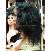 Homeage 2014 top sale 100% indian remy gray human hair full lace wig