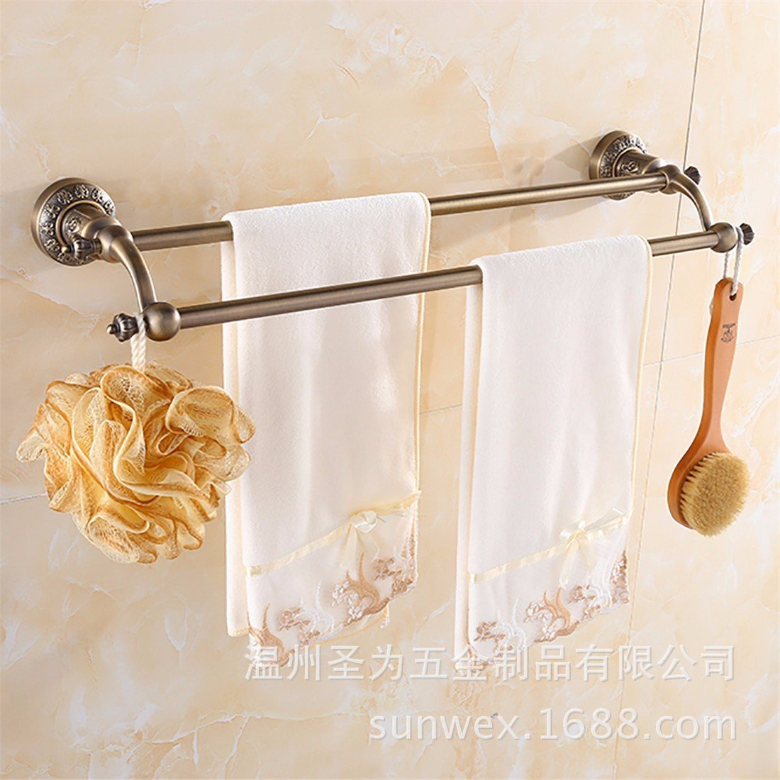 LAONA European style antique bronze carving, zinc alloy bathroom fittings, towel bar, toilet paper rack,Double pole