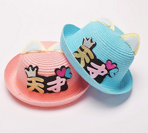 wholesale kids children baby child lovely chinese talent paper straw hat New Summber genius with ears Straw Sun Hats sombrero