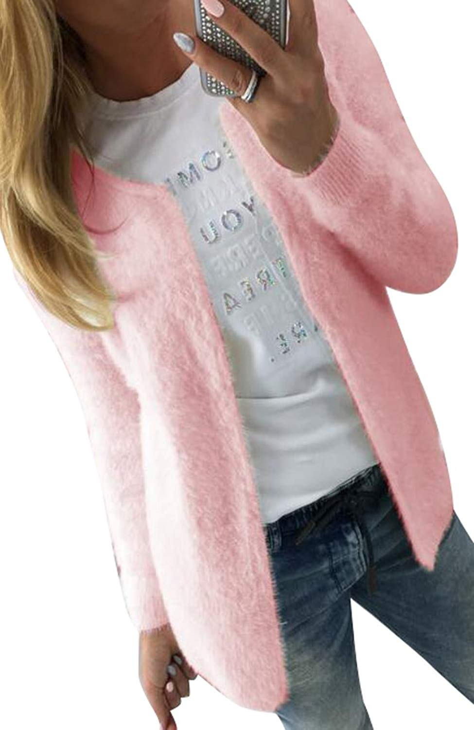 4f92d505fbeb Get Quotations · LD Womens Classic Solid Color Wool Blend Cardigan Sweaters  Coat