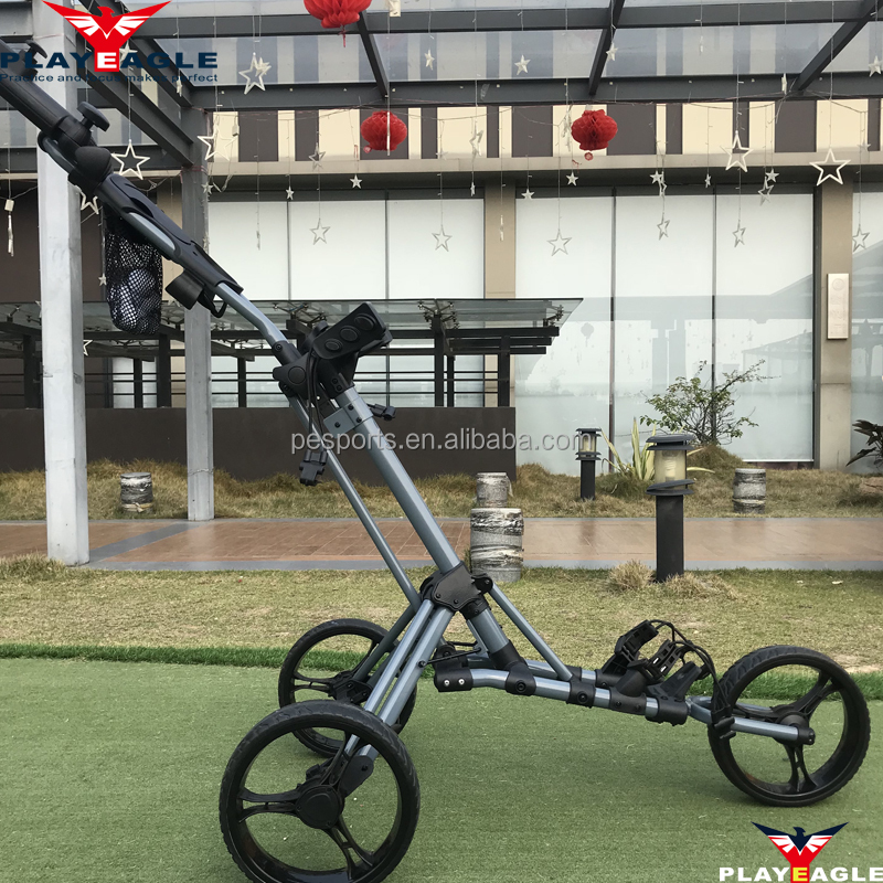 Fabriek hot-verkoop Vouwen golf trolley Caddy met 3 wielen outdoors push golf trolley gemakkelijk carry