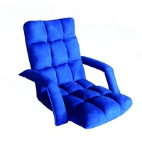 Comfortable adjustable padded folding floor chair with back support and armrest