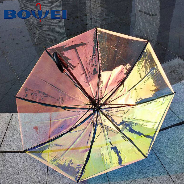 Change color clear poe holographic rainbow iridesent effect transparent reflective umbrella auto