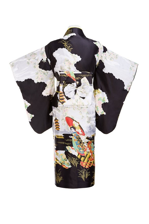 dc3f84282ab4f Schwarze Frau Dame japanische Tradition Yukata Kimono mit Obi Blume Vintage  Abendkleid Cosplay Kostüm One Size ZW01