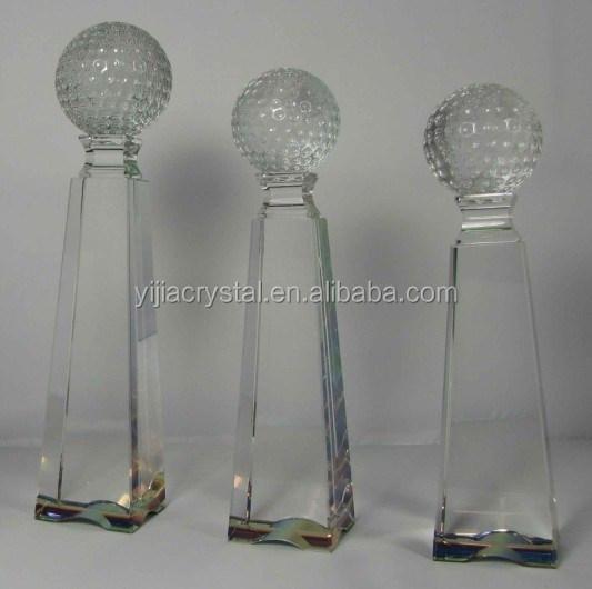 Factory Wholesale Custom Logo Crystal Glass Golf Trophy for Souvenir