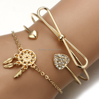 Jewelry Bracelets Gold Metal Charm Bangle Multilayer Bracelet Set br12461
