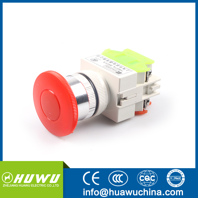 HUAWU HB37 MUSHROOMHEAD STAY PUT RED PUSH BUTTON SWITCH PULL AND PUSH TYPE 22mm mushroom push button switch