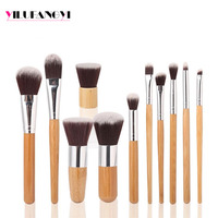 11pcs Custom private logo offered by cheap synthetic kabuki foundation bamboo makeup brushes Set