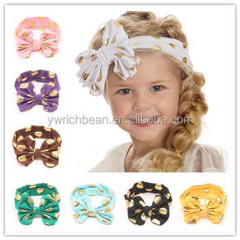 Hot Gold Polka Dot Baby Headband Knotted Bow Baby Head Wraps Kids Turban  Head Wraps Top cd7f14e3e88
