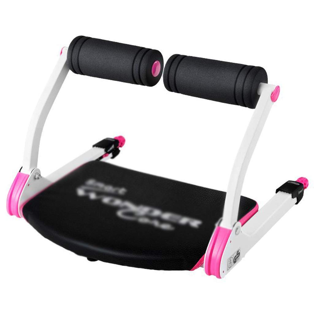 Pink Abdominal Machine sit-ups Auxiliary Multi-Function Supine Board Exercise Fitness Equipment Home Abdominal Folding Contraction, Mini Save Space (Color : Pink, Size : 525538cm)