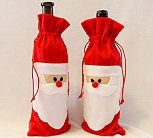 1 Piece Red Wine Bottle Cover Bags Christmas Dinner Table Decoration Home Party Decors Santa Claus by Denso