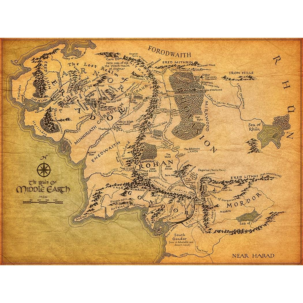 Buy Middle earth map 24X42 inch poster Home decoration chart art ...