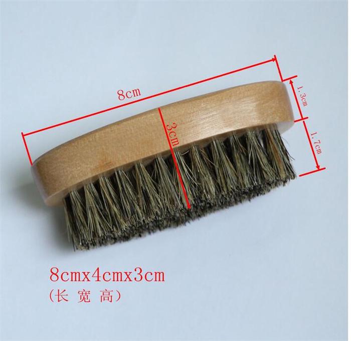 Natural Boar Bristle Beard Brush Mustache Military Round Wood Handle Men's Beard Brush Face Message Facial Hair Beard Oil