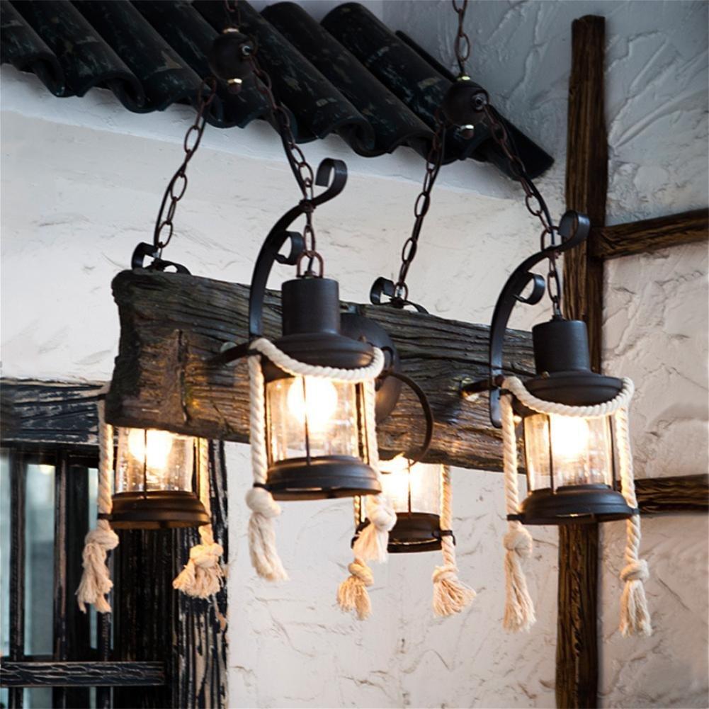 GLX American country hemp rope chandeliers, retro LOFT chandeliers 53CM 85CM