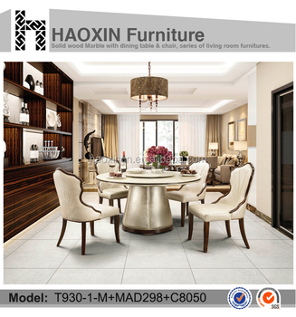 Round Design With Pu Granite Top Dining Tables Italian Table German Room Furniture