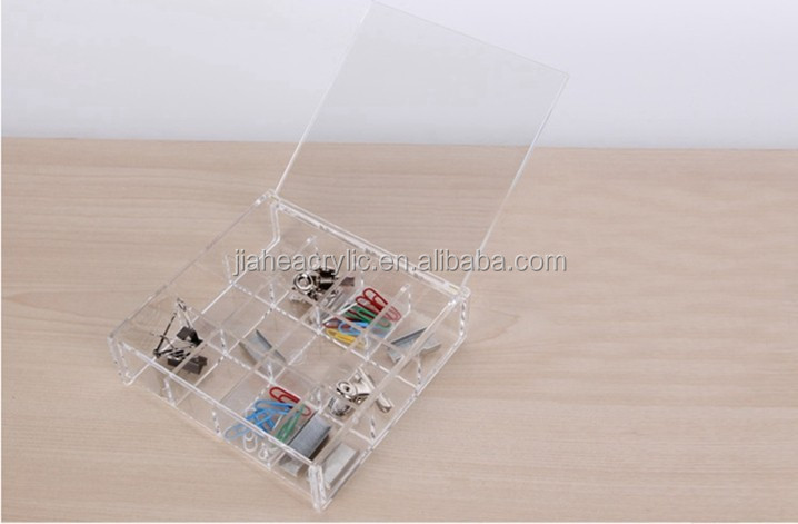 cheap clear rectangle acrylic compartments storage box with lid