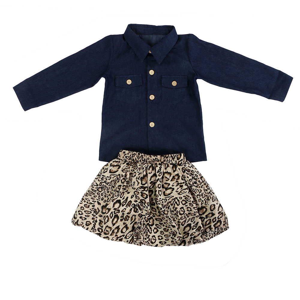 3f6361b0dd049 Wholesale Kids Clothing Long Sleeve Coat 100%Cotton And Leopard Skirt  Outfits <strong>