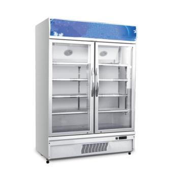 Fan Cooling Upright Double Glass Door Drinks Beverage Showcase Refrigerator Cooler