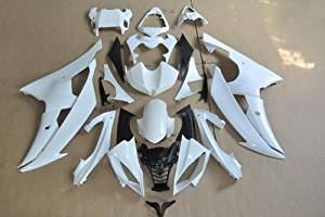 Wotefusi Brand New Motorcycle ABS Plastic Unpainted Polished Needed Injection Mold Bodywork Fairing Kit Set For Yamaha YZF R6 2008 2009 White Base Color