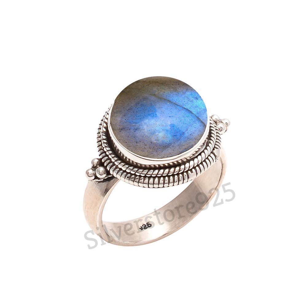 925 Sterling Silver Labradorite Ring - Blue Fire Stone Gemstone Ring For Girl Women Gift Ring Size 4 5 6 7 8 9 10 11 12 13 14 15 16
